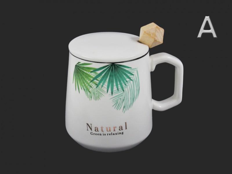 Natural design, levél mintás bögre kanállal és tetővel