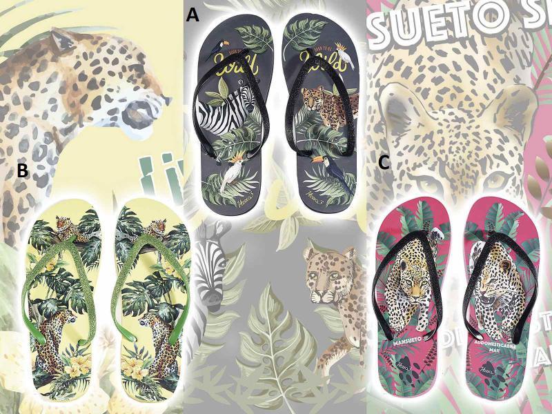 Női papucs dzsungel  mintás nyomtatással és csillogó pánttal, 3 féle színben