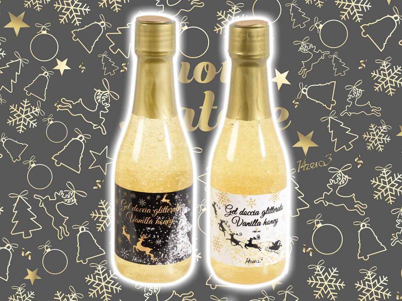 Pezsgő palack formájú tusfürdő, karácsonyi illattal
