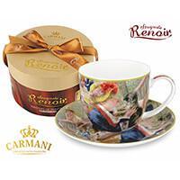 Renoir, Hölgy cicával - porcelán csésze aljjal díszdobozban - CARMANI