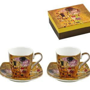Klimt arany kávés csésze + alátét 2 db díszdobozban