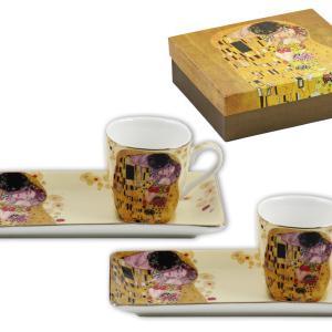 Klimt arany kávés csésze + alátét 2 db díszdobozban, új mintával