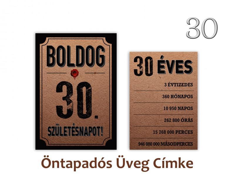 Üvegcímke 30. születésnapi öntapadós antik 2 db-os 9x13/8x11 cm