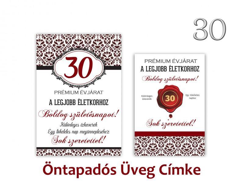 Üvegcímke 30. születésnapi öntapadós bordó 2 db-os 9x13/8x11 cm