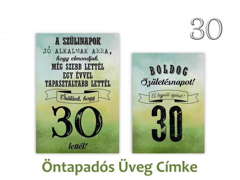 Üvegcímke 30. születésnapi öntapadós zöld 2 db-os 9x13/8x11 cm