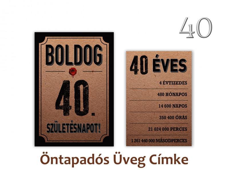 Üvegcímke 40. születésnapi öntapadós antik 2 db-os 9x13/8x11 cm