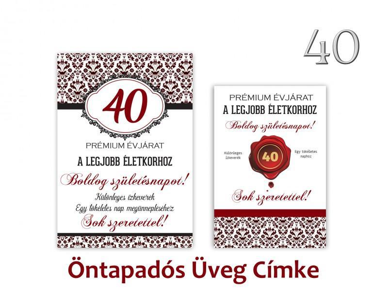 Üvegcímke 40. születésnapi öntapadós bordó 2 db-os 9x13/8x11 cm