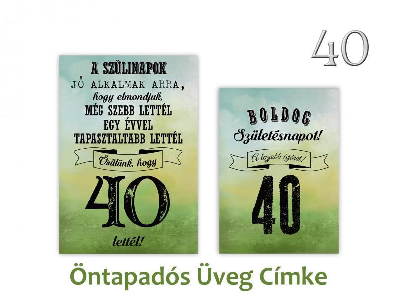 Üvegcímke 40. születésnapi öntapadós zöld 2 db-os 9x13/8x11 cm