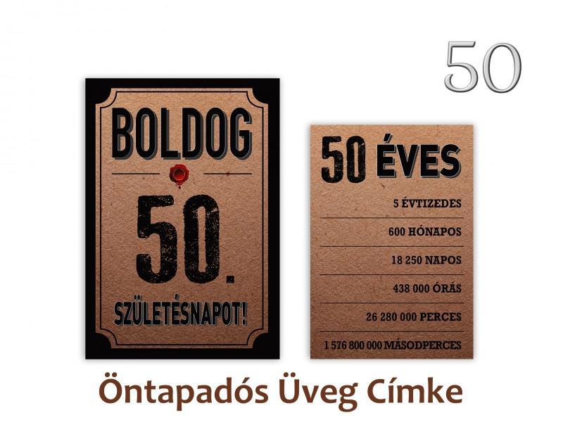 Üvegcímke 50. születésnapi öntapadós antik 2 db-os 9x13/8x11 cm