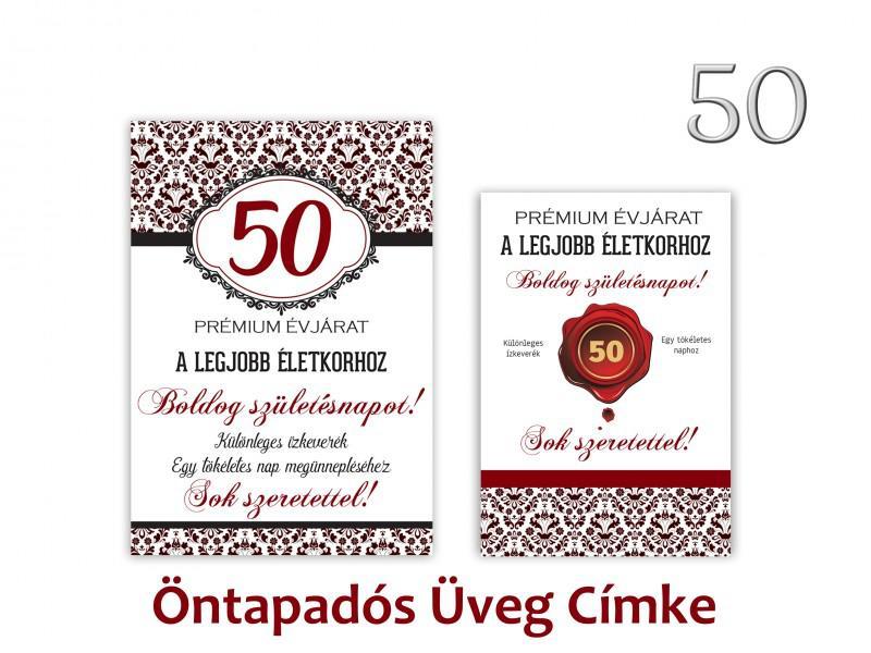 Üvegcímke 50. születésnapi öntapadós bordó 2 db-os 9x13/8x11 cm