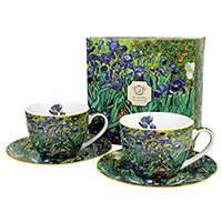 Van Gogh Íriszek porcelán csésze + alj készlet 250 ml - 2 személyes - díszdobozos