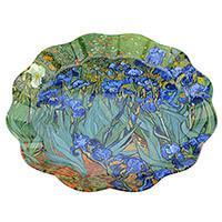 Van Gogh Mandulavirágzás vagy Íriszek hullámos kerek üvegtál - 30 cm