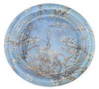 Van Gogh Mandulavirágzás vagy Íriszek kerek üveg tortatál / kínálótál - 37,5 cm