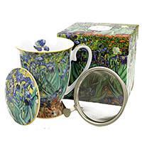 Van Gogh Mandulavirágzás vagy Íriszek porcelán bögre fémszűrővel és tetővel 270 ml - díszdobozos
