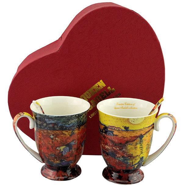 Van Gogh porcelán bögre szett - 2 személyes - szív díszdobozos