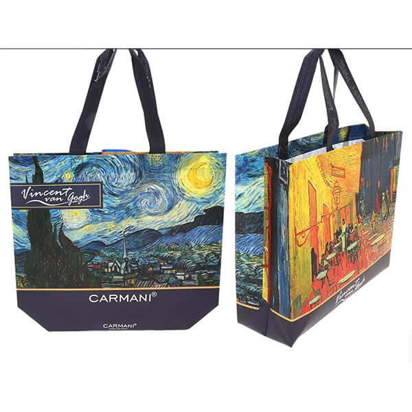 Van Goh műanyag táska - kétoldalas - Kávéház éjjel / Csillagos éj vagy Napraforgók / Írisz