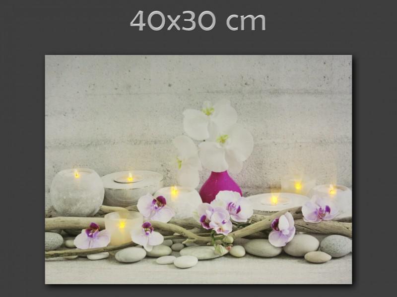 Világító falikép orchidea vagy bambusz mintával, 40×30 cm méretben