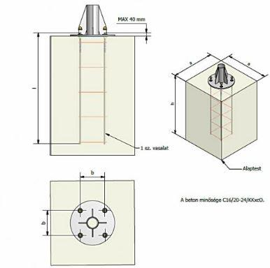 Alapvasalat acél lámpaoszlophoz