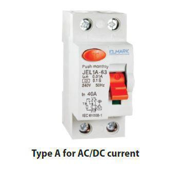 Áram-védőkapcsoló 2 pólusú A típusú (Fi-relé) AC/DC 40A 100mA