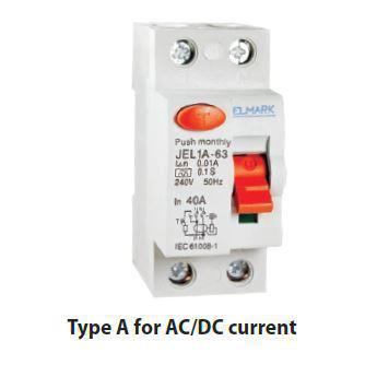 Áram-védőkapcsoló 2 pólusú A típusú (Fi-relé) AC/DC 40A 30mA