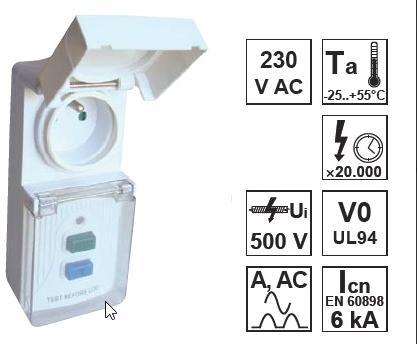 Áram-védőkapcsolós adapter, csapos védőérintkezővel IP44