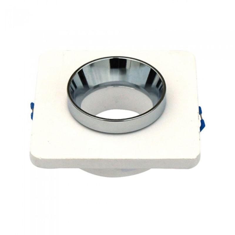 Beépíthető fix négyzet spot lámpatest Fehér-króm IP20 gipszkarton síkba