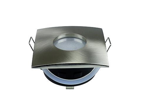 Beépíthető fix szögletes spot lámpatest szálcsiszolt króm IP44