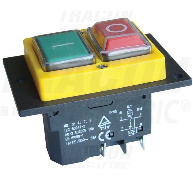 Biztonsági kapcsoló relével be-ki zöld-piros 4PIN