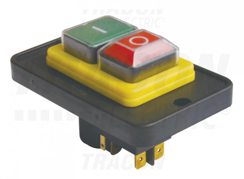 Biztonsági kapcsoló relével be-ki zöld-piros 5PIN