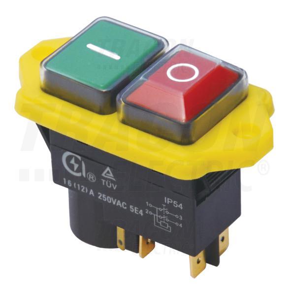 Biztonsági kapcsoló relével csavarozható, sárga kerettel 4PIN
