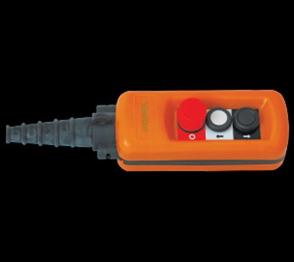 Daruvezérlő függőkapcsoló 2 gombos + biztonsági kulcsos kapcsolóval