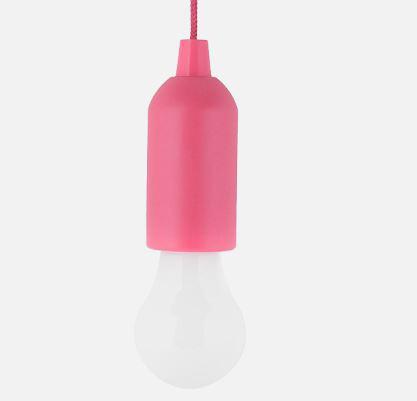 Elemes izzó alakú húzókapcsolós LED lámpa pink 1W