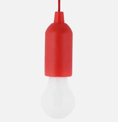 Elemes izzó alakú húzókapcsolós LED lámpa piros 1W