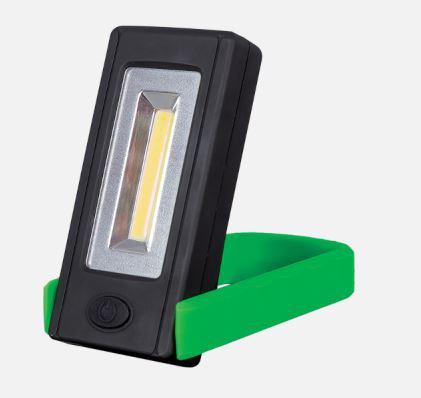 Elemes LED kézi lámpa mágnessel és rögzítő clippel zöld