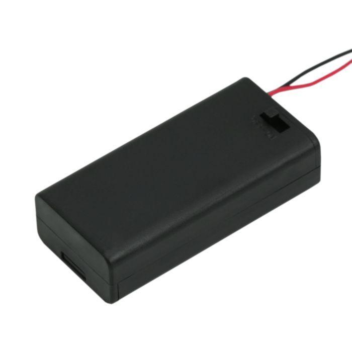 Elemtartó 2 db AA kapcsolóval, fedőlappal