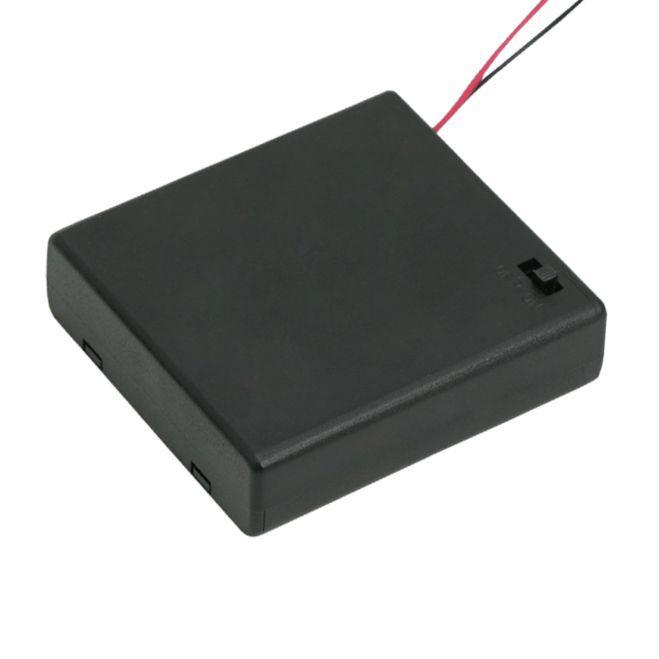 Elemtartó 4 db AA kapcsolóval, fedőlappal
