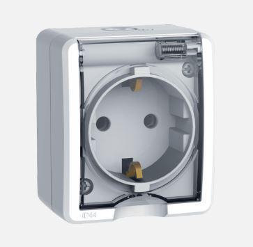 Ex vízmentes dugalj átlátszó csapfedéllel IP44 fehér