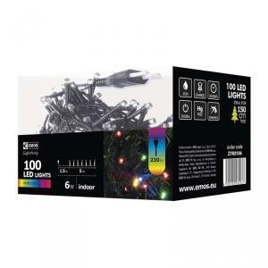 100 LED-es színes fényfüzér 5 m