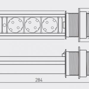 Irodai asztalba süllyeszthető elosztó 3db dugalj kerek ezüst