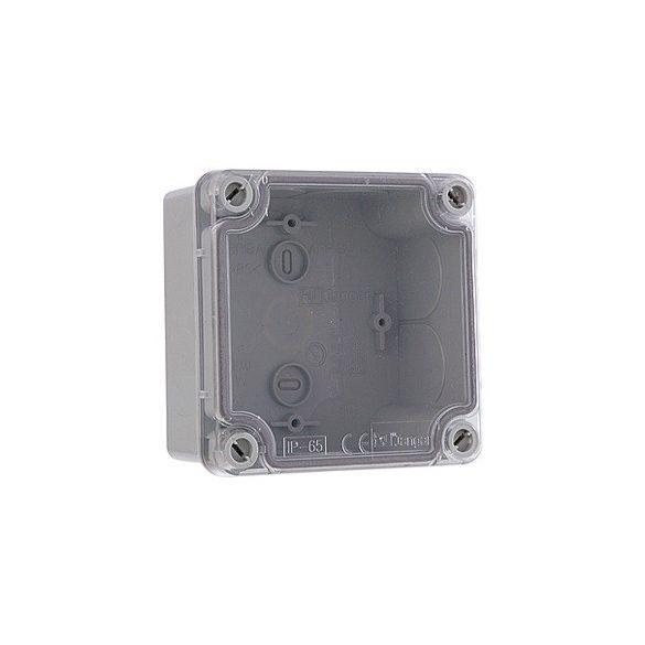 Falon kívüli vízálló kötődoboz átlátszó fedéllel 107x107x60mm IP65