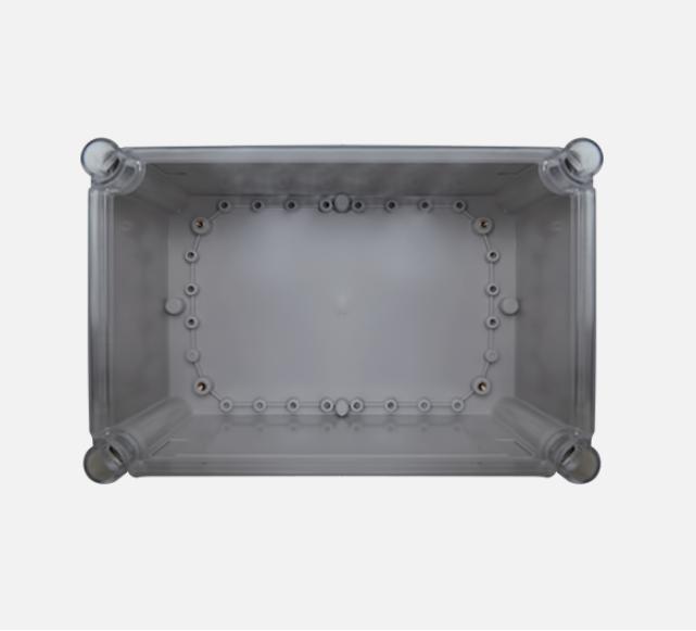 Falon kívüli vízálló kötődoboz átlátszó fedéllel 65x90x55mm. IP66