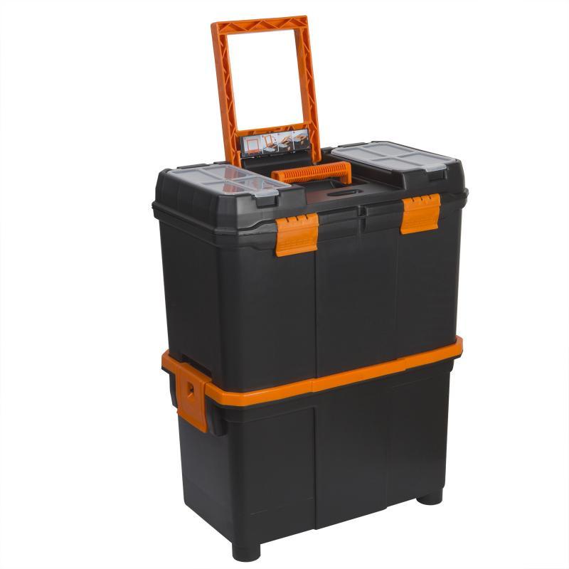 Húzható, többrészes műanyag szerszámláda 460x260x625