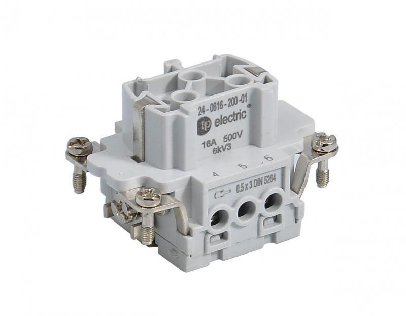 Ipari nehézcsatlakozó, dugalj betét, 6x16A/500V/6P+F