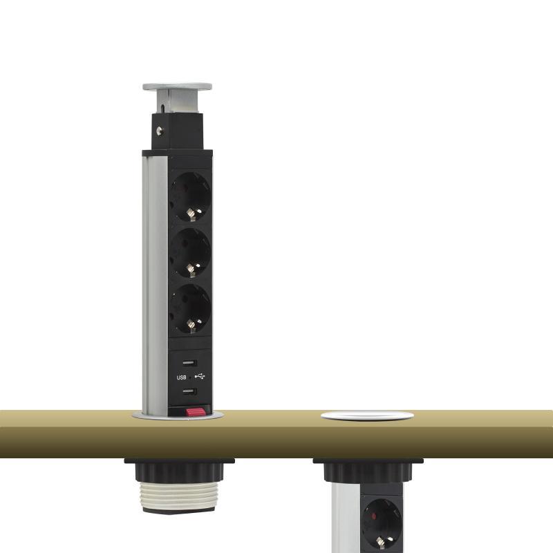 Irodai asztalba rejtett elosztó 3db dugalj + 2db USB kerek