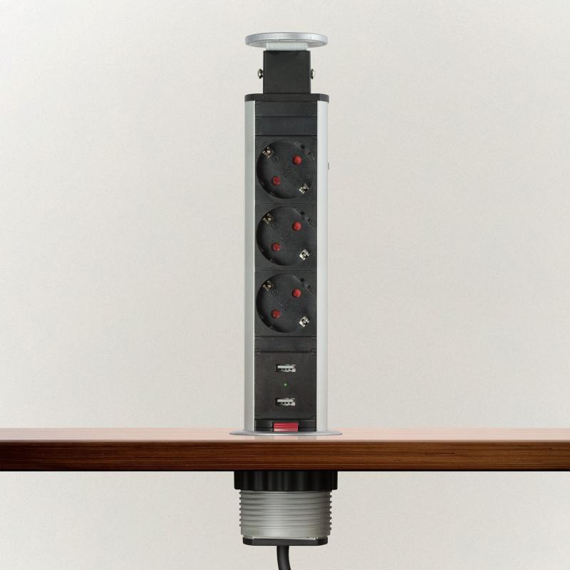 Irodai asztalba rejtett elosztó 3db dugalj + 2db USB kerek szálcsiszolt