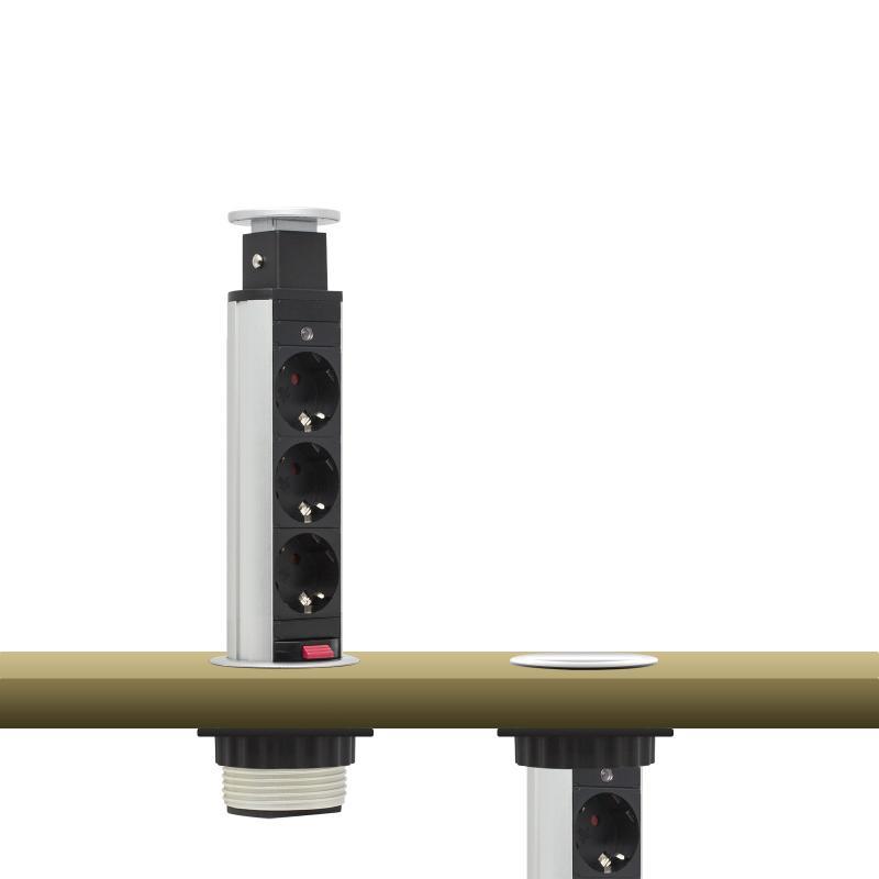 Irodai asztalba rejtett elosztó 3db dugalj kerek