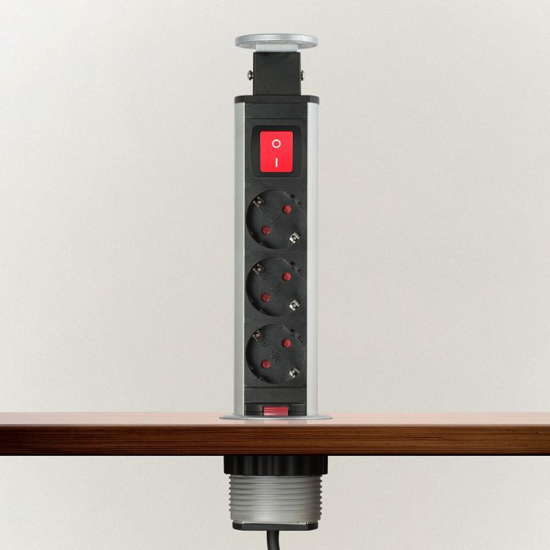 Irodai asztalba rejtett elosztó 3db dugalj kerek kapcsolóval