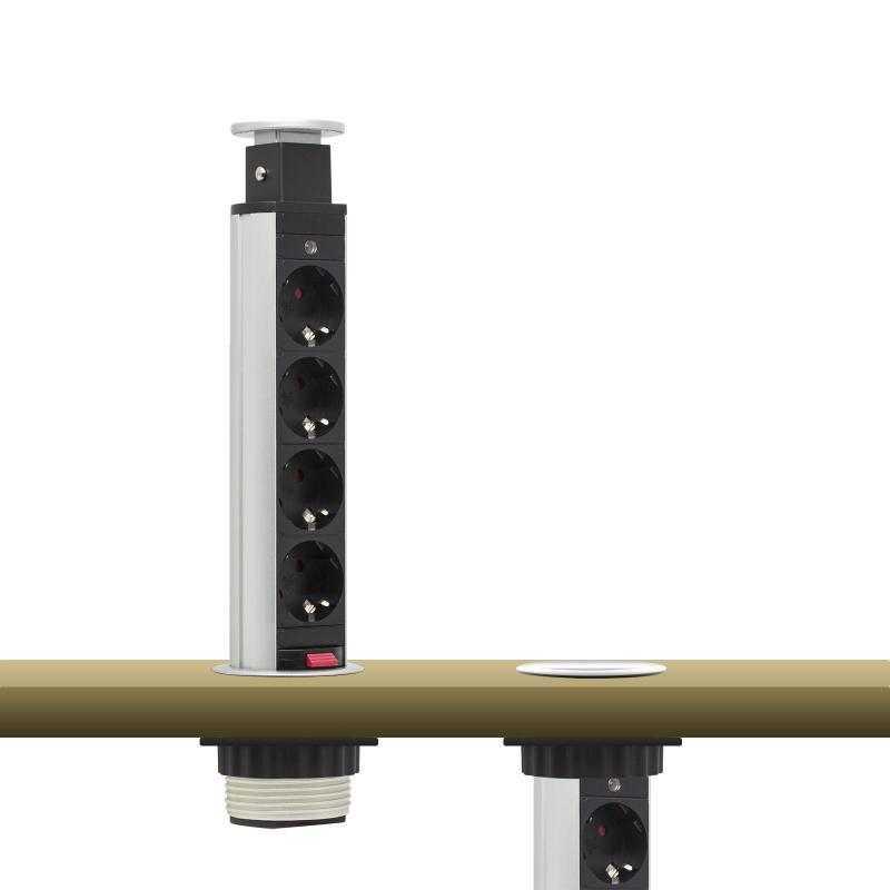 Irodai asztalba rejtett elosztó 4db dugalj kerek