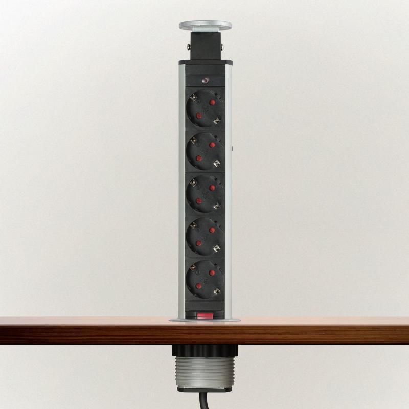 Irodai asztalba rejtett elosztó 5db dugalj kerek króm