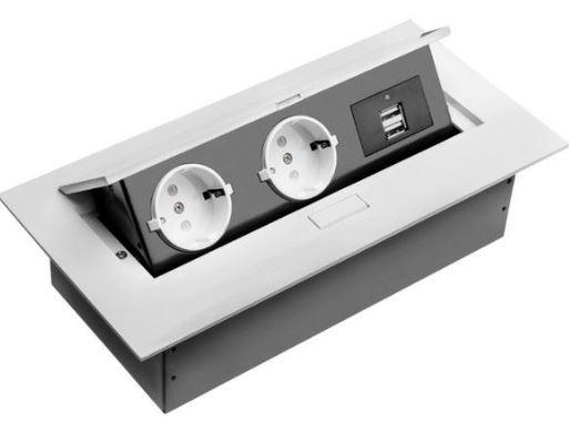 Irodai asztalba süllyeszthető elosztó 2db dugalj 2db USB fehér